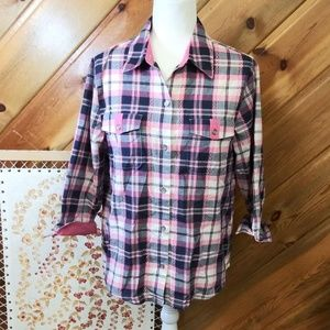 Alfred Dunner Pink & Black Button Up Cowgirl 10